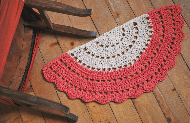 Half Moon Rug Crochet Boho Half Rug Half Circle Floor Rug