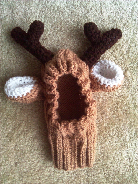 Knitting Pattern For Dog Reindeer Hat : Knitted Reindeer Hat for Dogs by ScarletNotions on Etsy