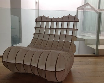 Chair of cardboard for children.  Mini cardboard chair for children.