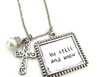 be still and know | hand stamped necklace