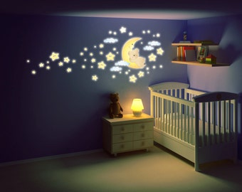 Wall Decals Fluo Wall Stickers Fluo Baby Nursery Fluorescent Bear on the moon