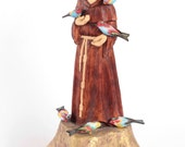 St. Francis of Assisi Folk Art Wood carving statue  Hand carved sculpture  Wood sculpture  sacral figure, ready to go