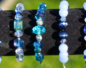 5 Exquisitely Designed Beaded Bracelets  With Unusual Beads, Crystals, Gems, Findings.