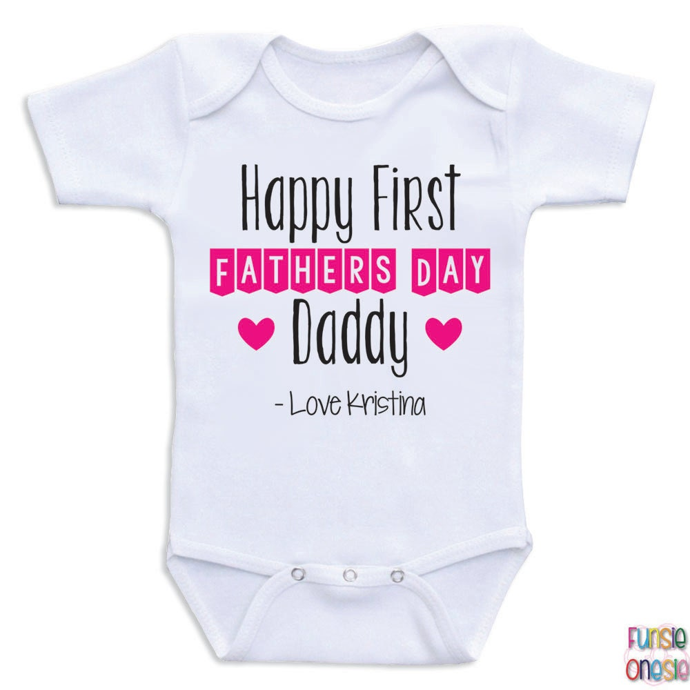 Personalized Fathers Day Baby Onesie Happy By