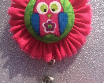 Pink Owl Retractable Badge Holder. ID Holder. Badge Button.