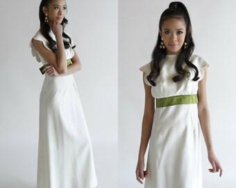 Vintage Maxi Wedding Dress / 1960s Empire Waist Dress