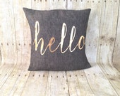 Free Shipping, metallic gold Hello pillow with insert