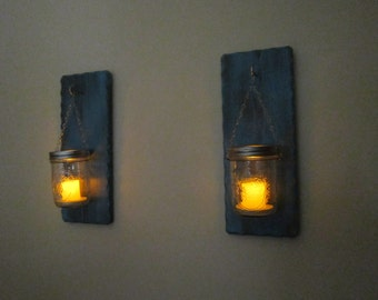 Candle Wall Sconce - Mason Jar Sconce - Candle Sconce - Distressed Teal