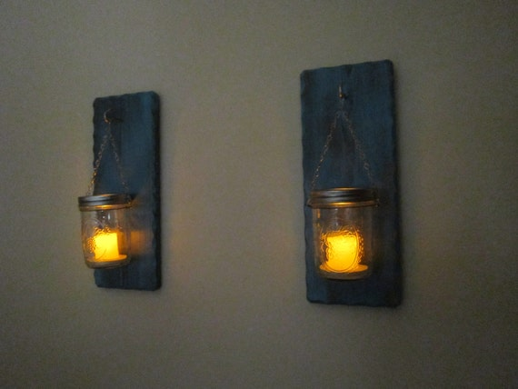 Mason Jar Candle Wall Sconces : Candle Wall Sconce Mason Jar Sconce Candle by BriarRidgeCreation