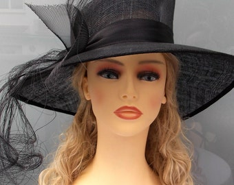 Vintage style hat, Black sinamay hat, Wedding hat, Event hat, Ascot hat, Race hat, Derby hat