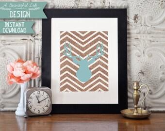 8x10 Digital Art Print - Printable - Stag - Chevron Background