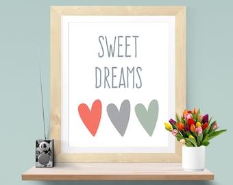 Sweet Dreams Print Nursery Art Baby Nursery Decor Nursery Print Kids Art Sweet Dreams Nursery Boy Art Nursery Wall Art Nursery Baby Ideas