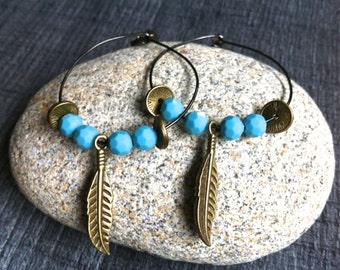 Earrings turquoise hoop earrings and bronze feather
