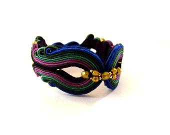 Soutache Bracelet Bulu Merak, will add glamour to any outfit, effective, ideal for evening styles, handmade