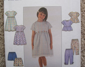 UNCUT Child's Dress or Top and Pants or Shorts - Simplicity Sewing Pattern 8576