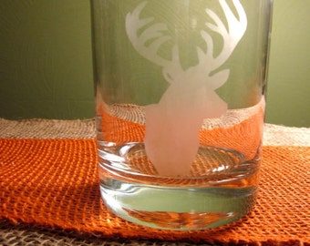 4 Etched Deer Double Old Fashioned Glass