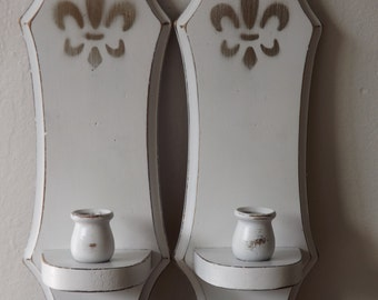 Vintage Shabby Painted Wood Hanging Candle Holders (2) shabby sconce candles