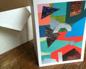 Art Greeting Card: Moonrise Collage