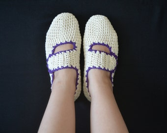 Cotton Slippers in Ecru with Purple Trimmings, Crochet House Shoes, Home Shoes, Women Accessories
