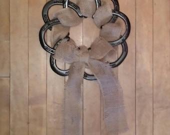Horseshoe Burlap Wreath