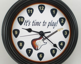 "Custom GUITAR ""It's Time To Play"" WALL CLOCK"