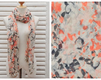 SALE 35% Chiffon scarf in orange blue grey off white, screen printed scarf, long scarf, gift for mom, Gift Under 20