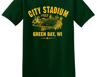 City Stadium 1925 Football Tee Shirt - Past Home of the NFL Green Bay Packers