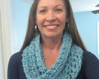 Soft Crocheted Mobius Scarf / Cowl, Muted Blue & Teal