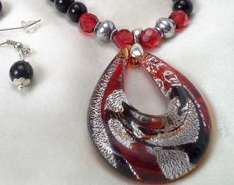Red, Black, and Silver Necklace, Bracelet, and Earrings Set