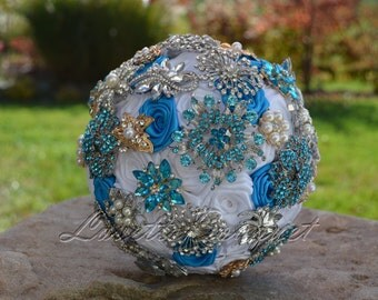 """Full Price - 7"""" Turquoise Wedding Bouquet Bridal Bouquet. Satin Rosette Bouquet Blue Ready To Ship"""