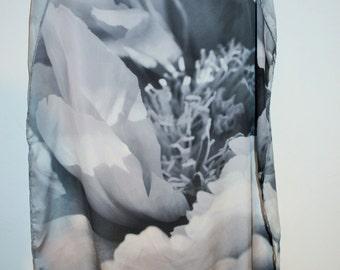ranunculus black and white original photo print scarf