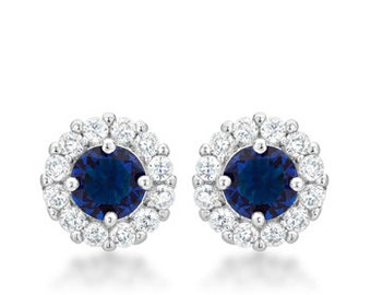 Bella Bridal Sapphire Earrings   Bridal Earrings with Round Cut Blue Cubic Zirconia and Post Backing