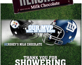 Printable Baby Shower Hershey's Chocolate Candy Bar Wrappers 1.55 oz. Football Pittsburgh Steelers vs. NY Giants