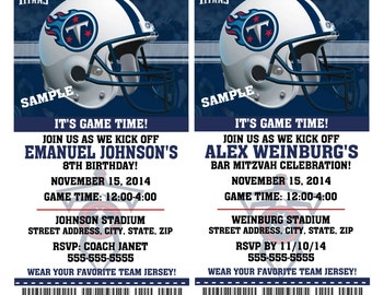 Printable Birthday Party Invitation Card Tennessee Titans Birthday Ticket Invitation Football Weddings Baby Showers Bar Mitzvahs