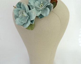 Dusky Blue Velvet Floral Hair Pins, Set of Two Floral Bobby Pins.