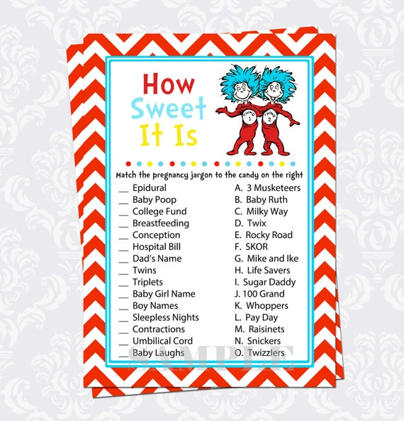 Sweet Sweet Baby Baby Shower Game: How Sweet It Is Baby Shower Game For Twins Dr By