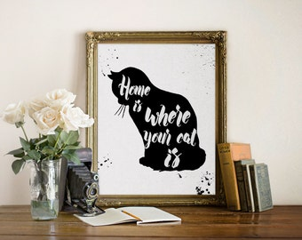"""Inspirational Print """"Home is where your cat is"""", inspirational Quote, Inspirational Art, Typography Print, Home decor, Wall Art"""