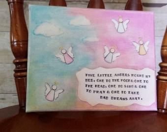 "Five Little Angels 8X10"" Art Canvas"