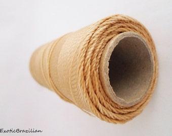 Waxed polyester cord, 16yards, straw waxed thread, bracelet thread, Brazilian macrame cord, macrame, dark beige, waxed polyester thread