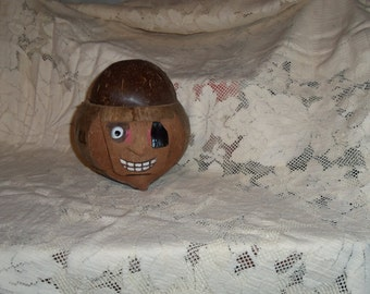 Pirate Coconut Head Money Bank/ Container Coconut Head Drink Holder Carved Coconut