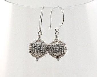 Balinese Sterling Silver Earrings, Bali Bead Earrings, Bali Silver Earrings, Silver Balls, Balinese Jewelry, Bali Earrings