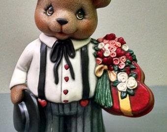 Valentine's Boy Bear--Heirloom Quality--Hand-painted Ceramic--Holiday Figurine Decor--Seasonal Figurine Decor--Home Decor--Patio Decor