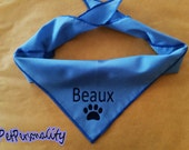 Personalised Dog Bandana with Paw Print, Choice of Colours and Sizes