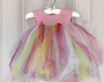Pink Princess Dress Easter Dress Crochet Tutu Dress Size 2T Pink Tulle Baby Gift
