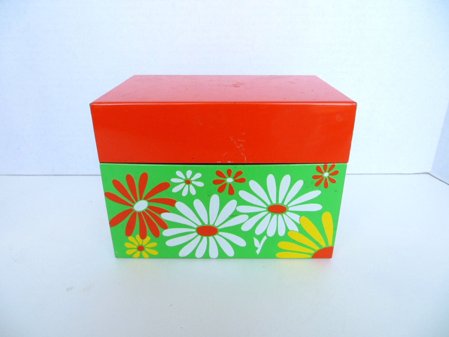 Vintage Retro Metal Recipe Box Flower Power By Vintagevarage