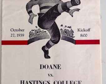 Vintage College Football Program Doane Vs Hastings College Free Shipping