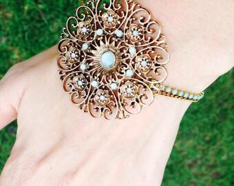rhinestone and chain bracelet