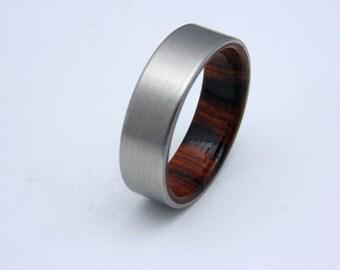 Titanium and wood wedding band Arizona Ironwood waterproof liner, Bentwood ring, Wedding band, Gift for him, Gift for Dad