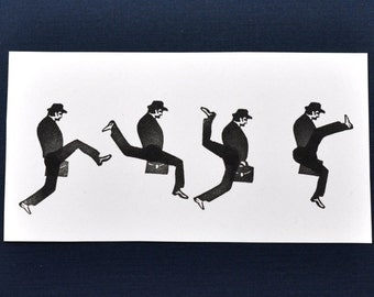 Ministry of Silly Walks Interactive Rubber Stamp Set, Hand Carved Monty Python Inspired Stamps