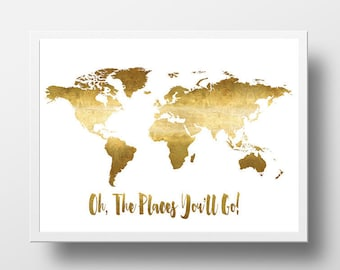 Printable gold etsy oh the places youll go printable world map poster gold foil world map sciox Gallery